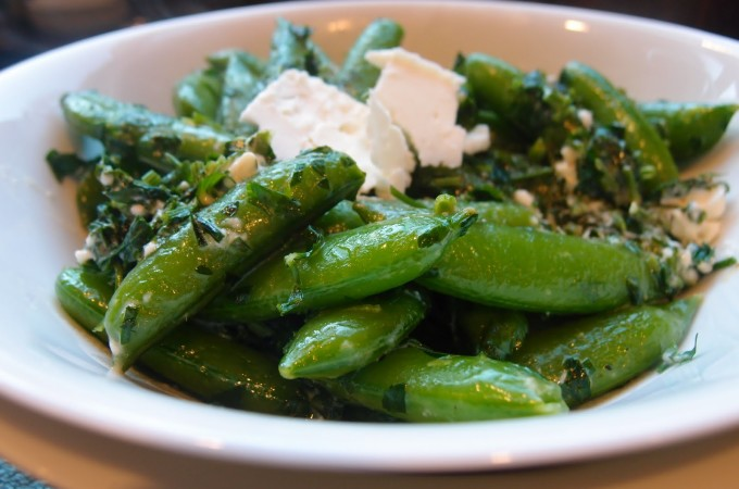 Sugar Snap Peas with Herbs and Feta