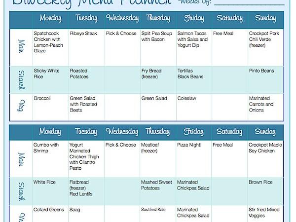 Biweekly Menu Planning Form (Free Downloadable)