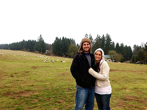 Evan and Rachel with their pasture-raised ducks.