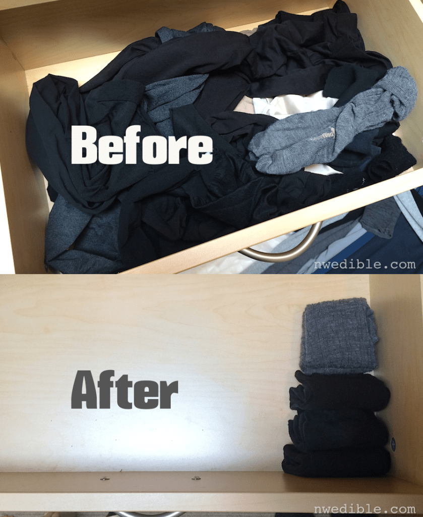 """My sock drawer before and after the """"Spark Joy"""" test."""
