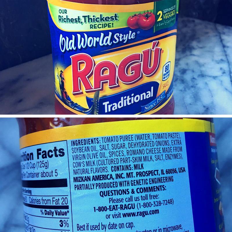 Ragu Jar Ingredients